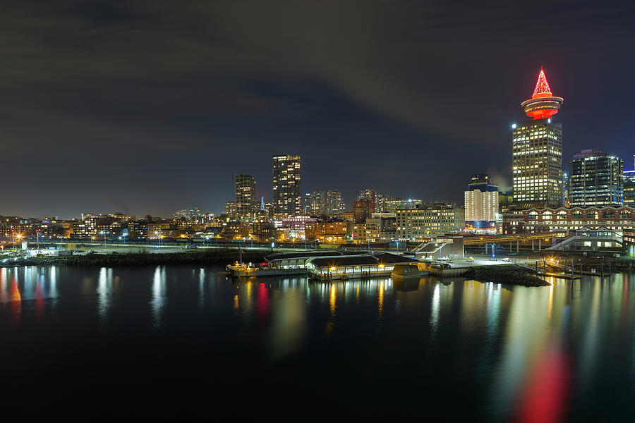 Vancouver Photograph - Ferry Terminal In Vancouver Bc At Night by David Gn