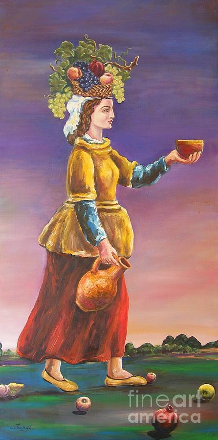 Grapes Painting - Fertility by Ushangi Kumelashvili