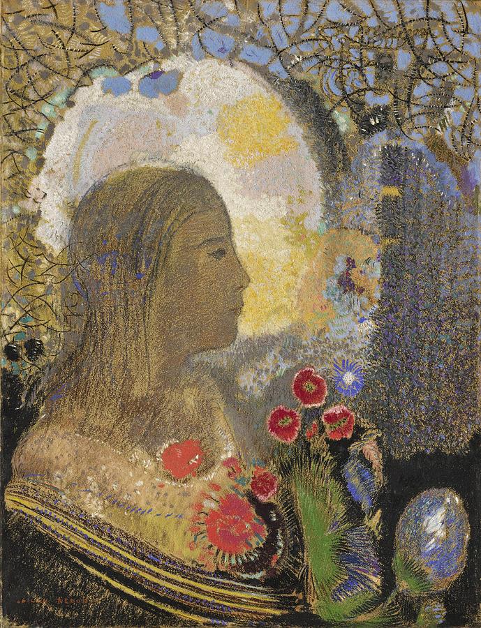 Odilon Redon Drawing - Fertility. Woman In Flowers by Odilon Redon