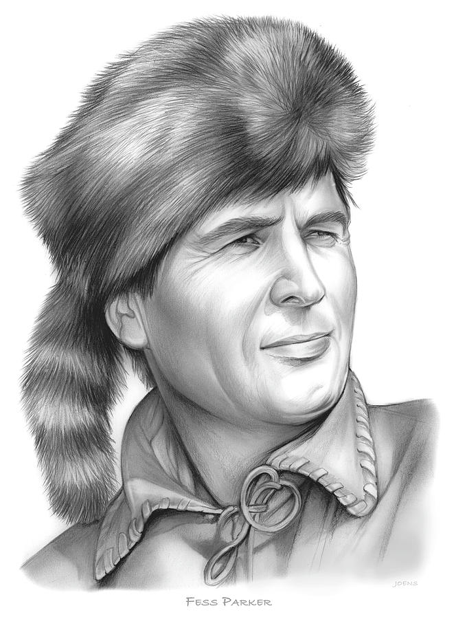 Fess Parker Drawing - Fess Parker by Greg Joens