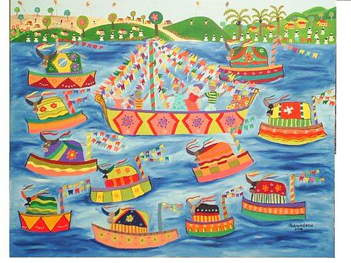 Festa No Mar Painting by Rodrigues Lessa