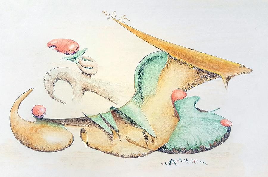 Festive Drawing - Festive Horn by Dave Martsolf
