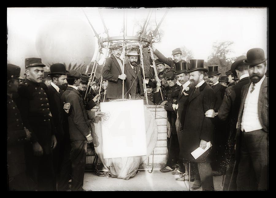 Ballon Painting - Festive Start Of Balloon 1906 by Vincent Monozlay
