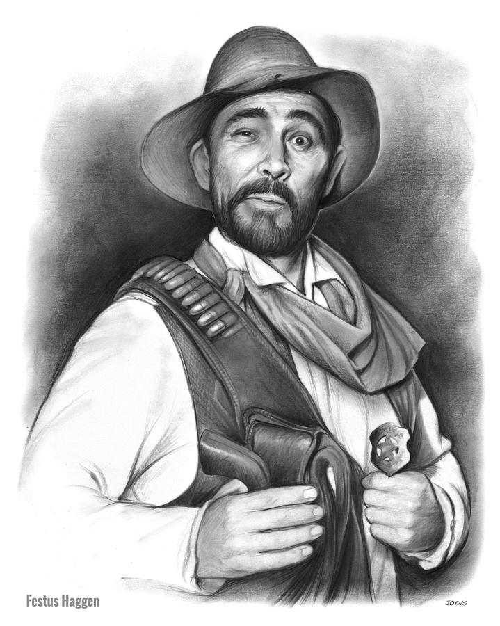 Ken Curtis Drawing - Festus Haggen by Greg Joens