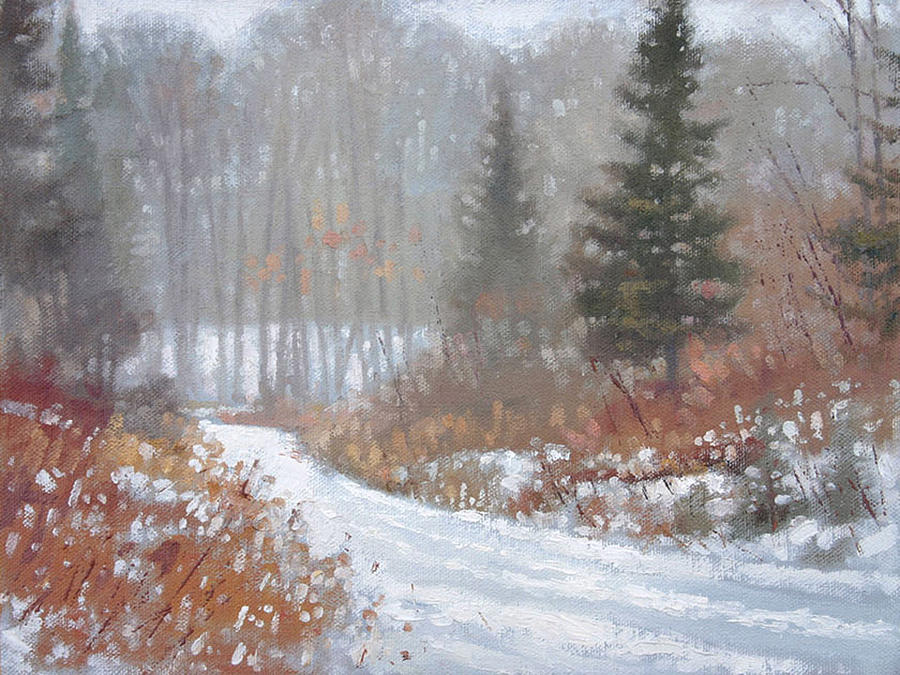 Landscape Painting - Few Tracks Winter by Larry Seiler