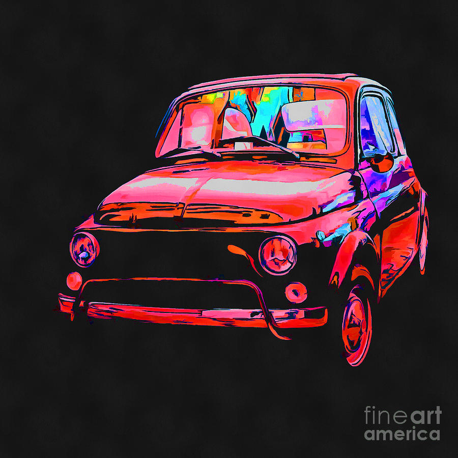Fiat Painting - Fiat 500 Pop Art Red by Edward Fielding