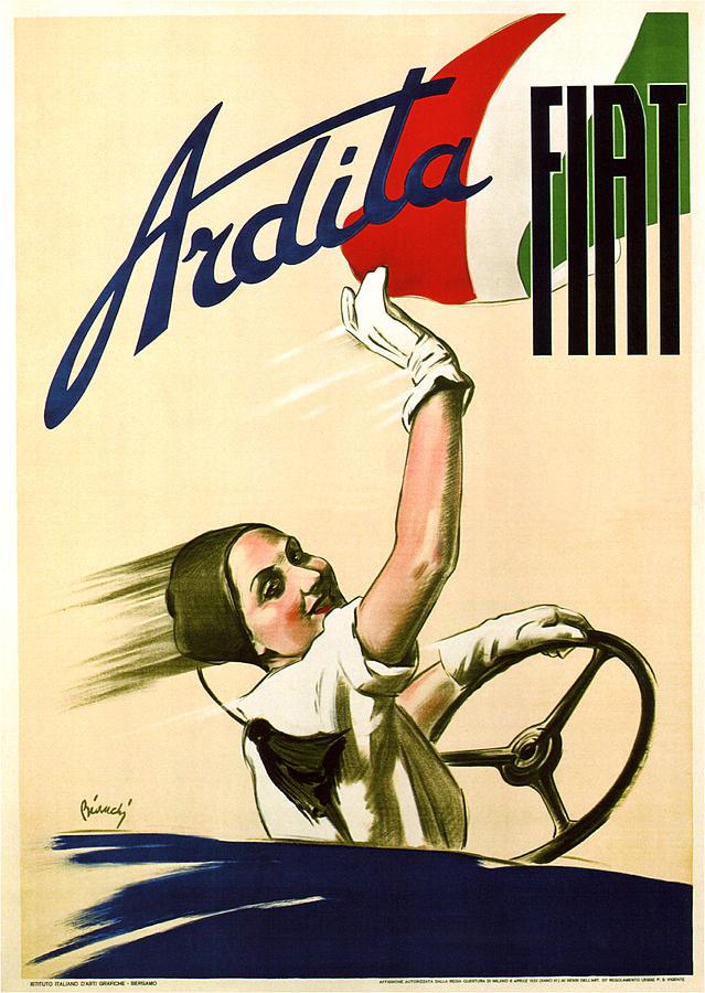 Vintage Mixed Media - Fiat Ardita - Italian Car - Vintage Advertising Poster by Studio Grafiikka