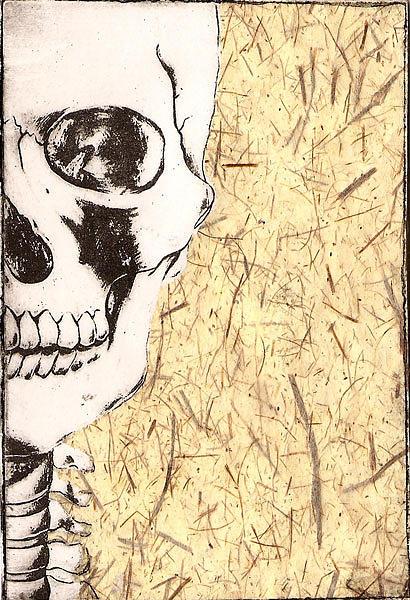 Skull Mixed Media - Fiber by Kimberly Lavon