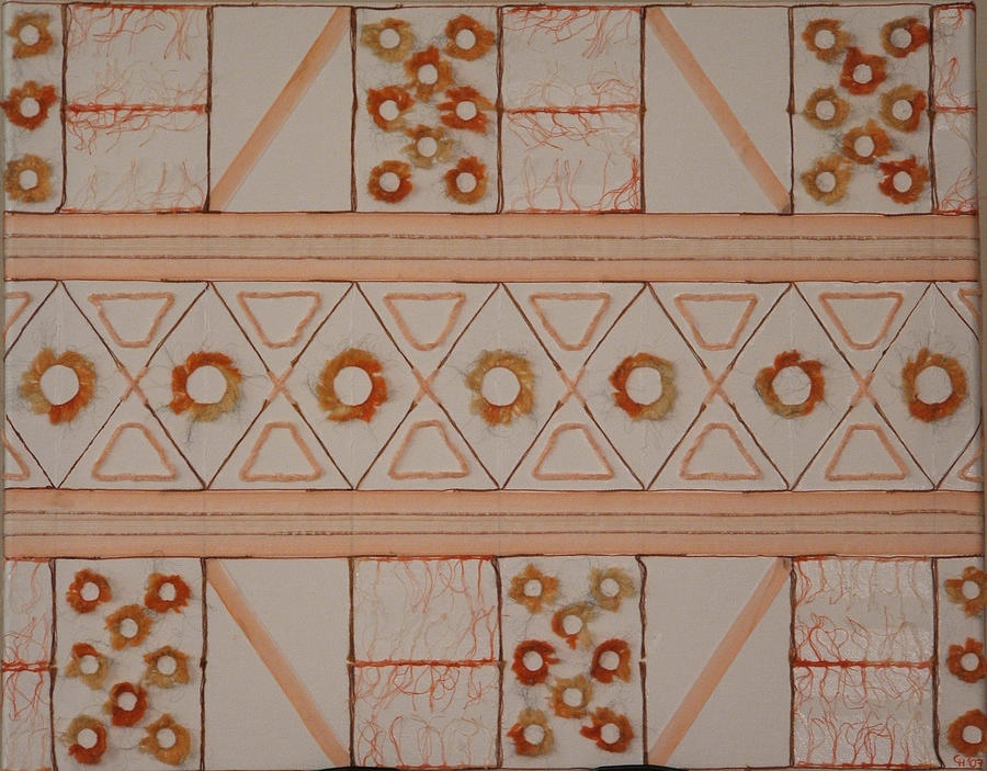 Abstract Mixed Media - Fibers No 2     Shades Of Orange by Claudia Bermudez