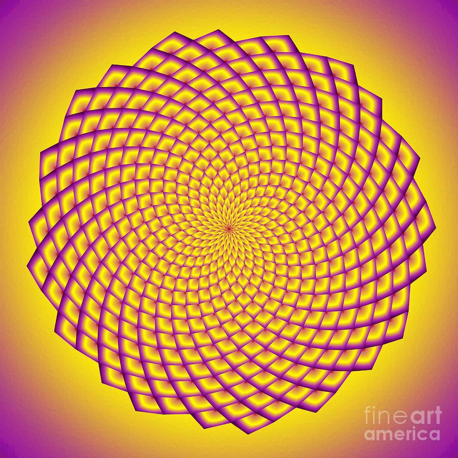 Fibonacci Image With Filled Spirals In Yellow And Purple Digital Art ...