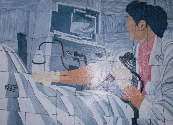Fibroscopie 2005 Painting by Mohamed-Hosni Belkorchi