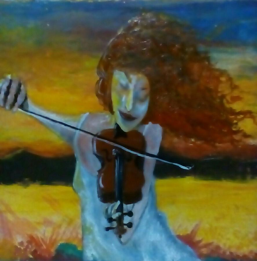 Fiddler And The Fire Painting