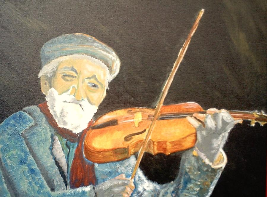 Fiddler Blue Painting by J Bauer
