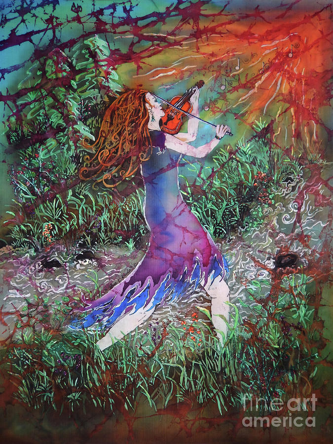 Fiddler Tapestry - Textile - Fiddler of the Forest 3 by Sue Duda