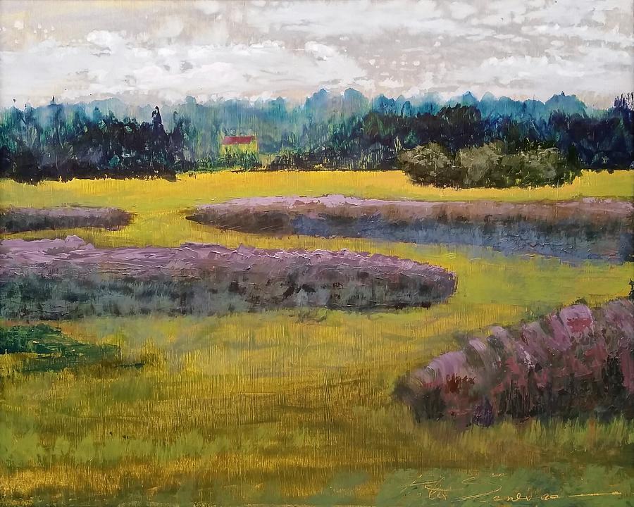 Waterscape Painting - Fiddlers Ridge Marsh by Peter Senesac