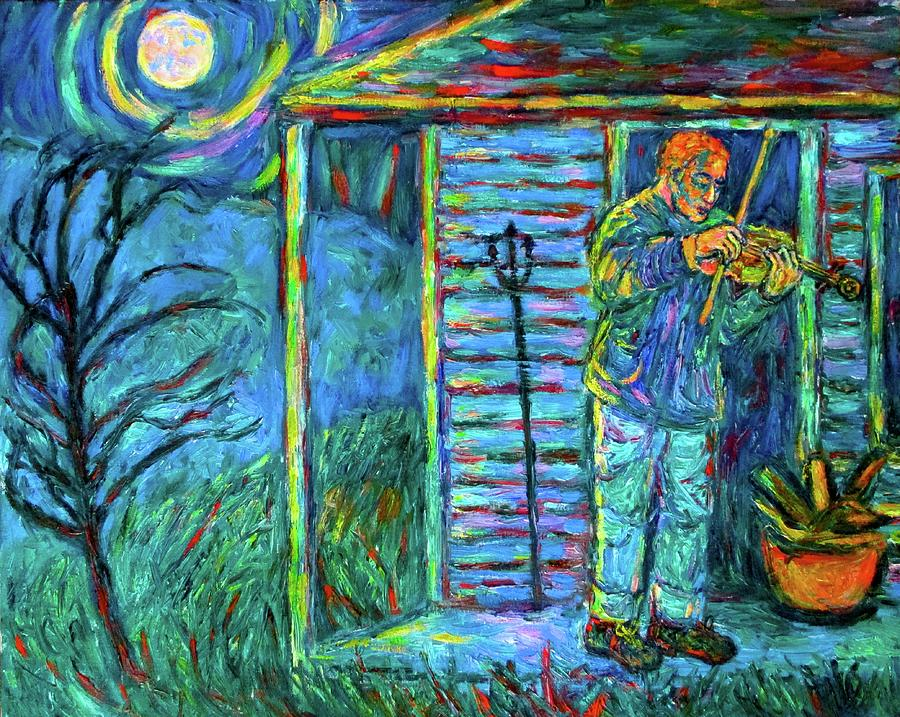 Fiddler Painting - Fiddling At Midnights Farm House by Kendall Kessler