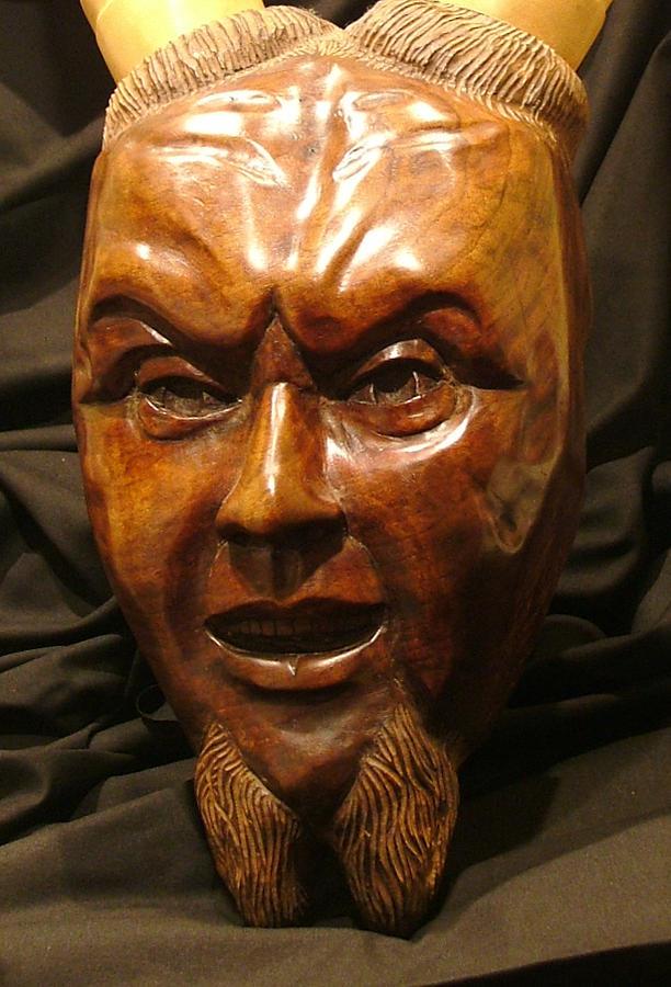 Walnut Sculpture - Fidei Defensor by Andrew Boyce