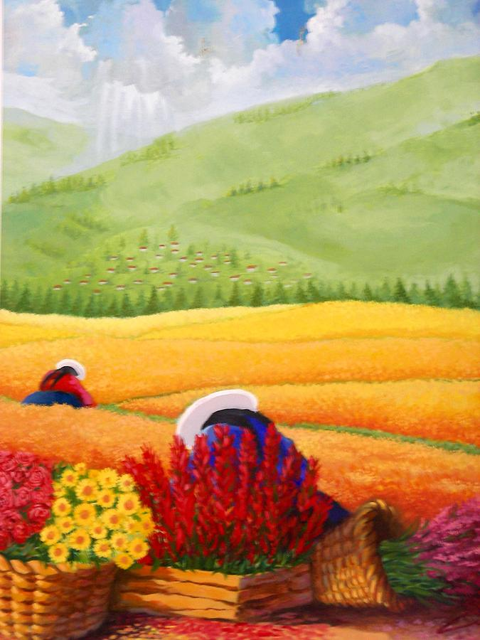 Landscape Painting - Field And Beautiful  by Victor Cuya