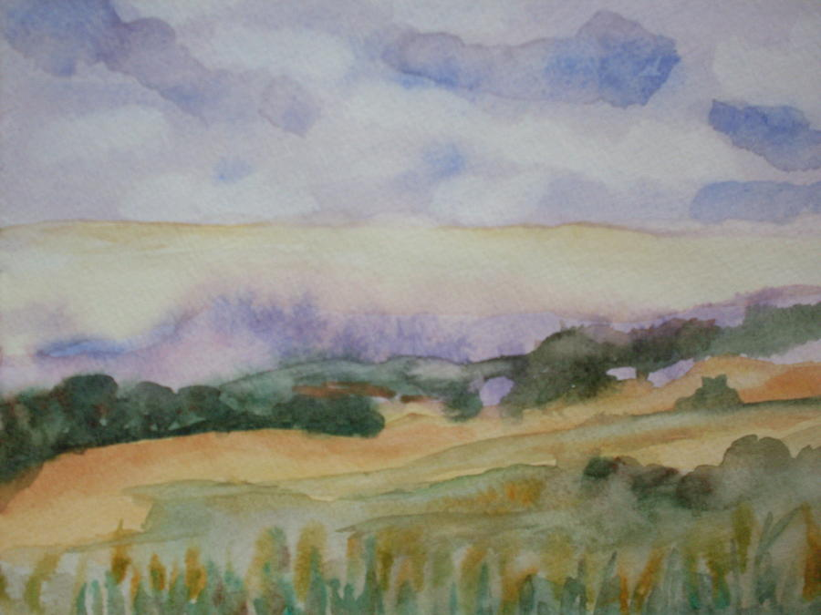 Watercolor Landscape Painting - Field And Sky 1 by Warren Thompson