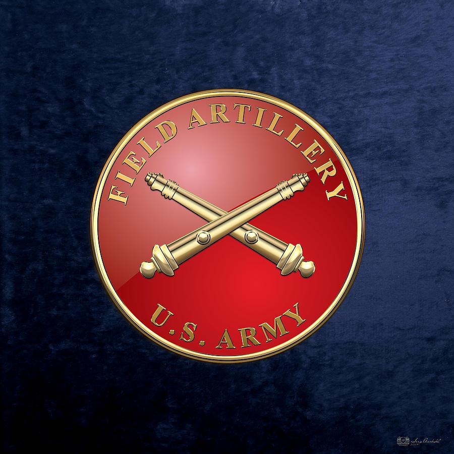Military Digital Art - Field Artillery - Fa Branch Insignia Over Blue Velvet by Serge Averbukh