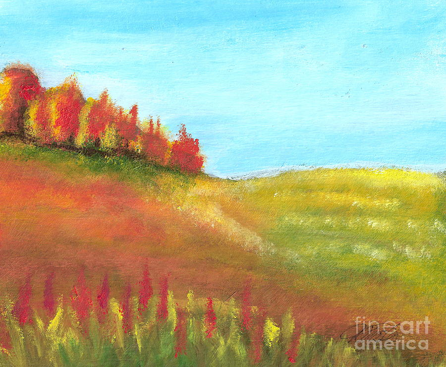 Landscape Painting - Field In Autumn by Vivian  Mosley