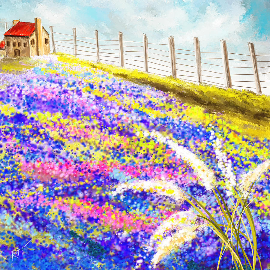 Bluebonnet Painting - Field Of Blue - Bluebonnet Art by Lourry Legarde