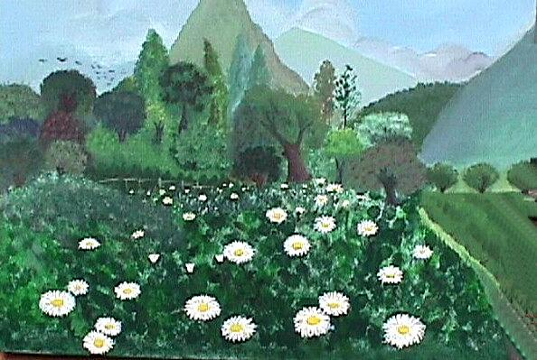 Landscape Painting - Field of Daysies by Janine Shideler