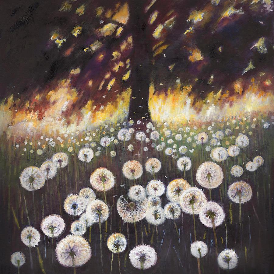 Dandelions Painting - Field of dreams by Helen White