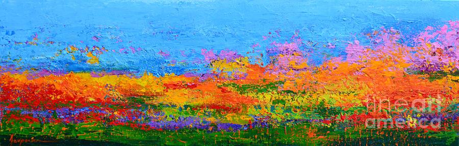 Abstract Field Of Wildflowers Modern Art Palette Knife