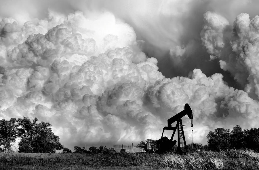 Oil Rig Photograph - Field of Nightmares  by Karen Scovill