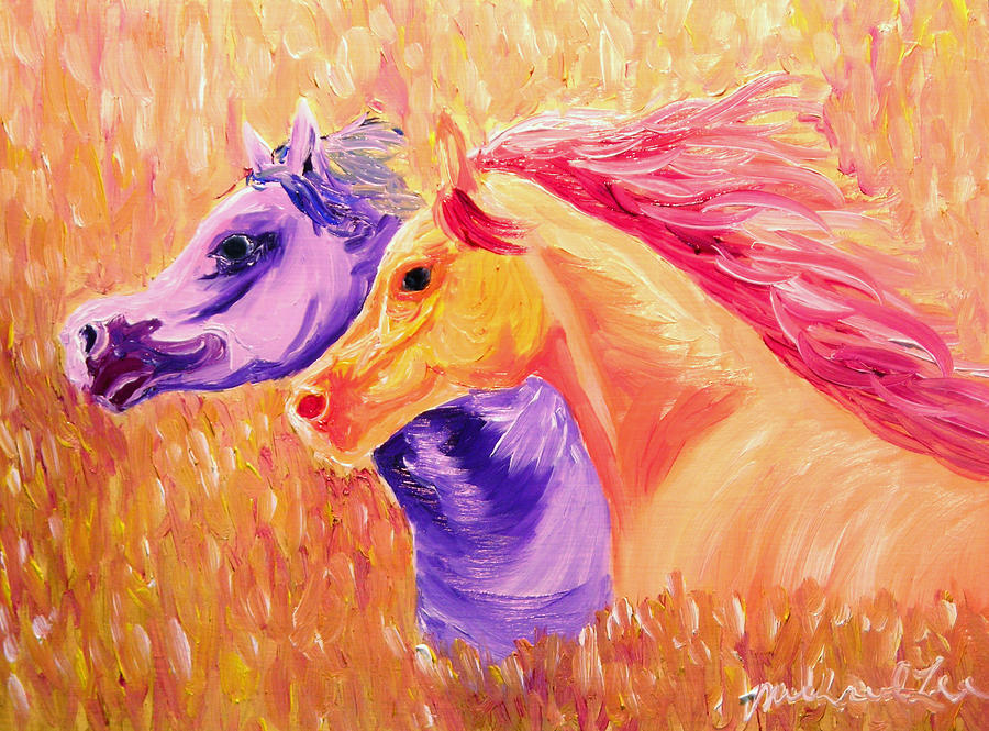 Horse Painting - Field Of Orange by Michael Lee