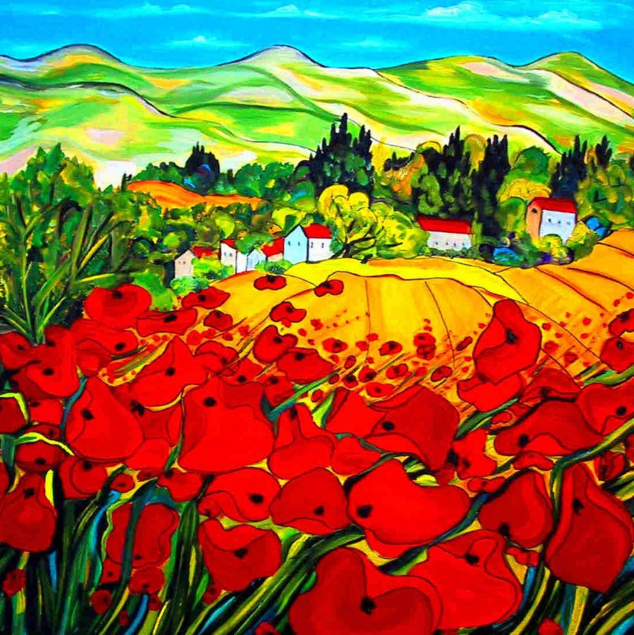 Landscapes Painting - Field Of Poppies France by Hannelore Amon