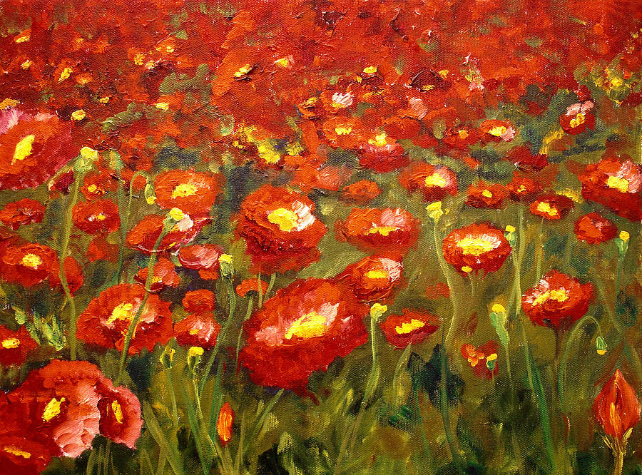Poppies Painting - Field Of Poppies by Mary Jo Zorad