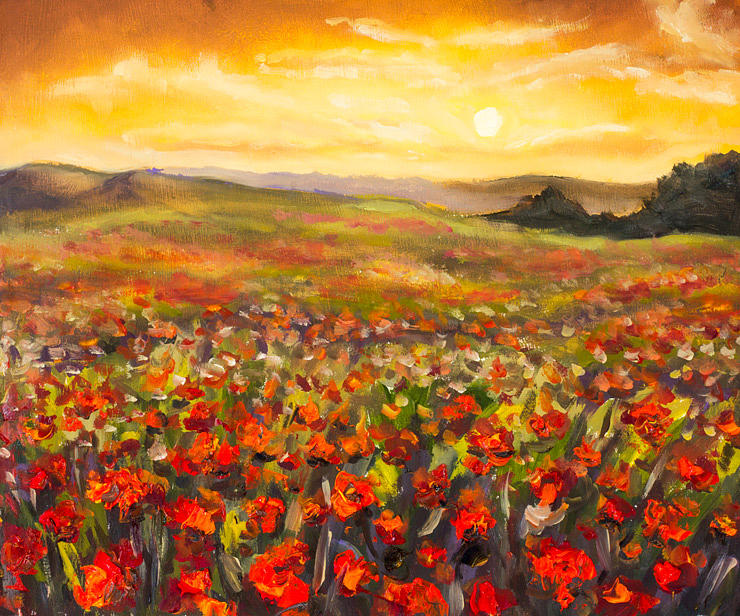Field of red poppies at sunset in valley of mountains original field painting field of red poppies at sunset in valley of mountains original flowers oil mightylinksfo
