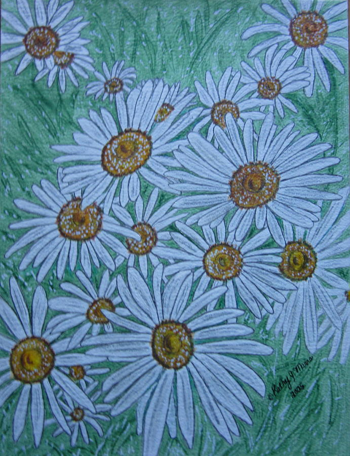 Field Painting - Field Of Wild Daisies by Kathy Marrs Chandler