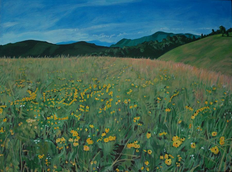 Smoky Mountains Painting - Field Of Yellow Flowers by Shelia  Doebereiner
