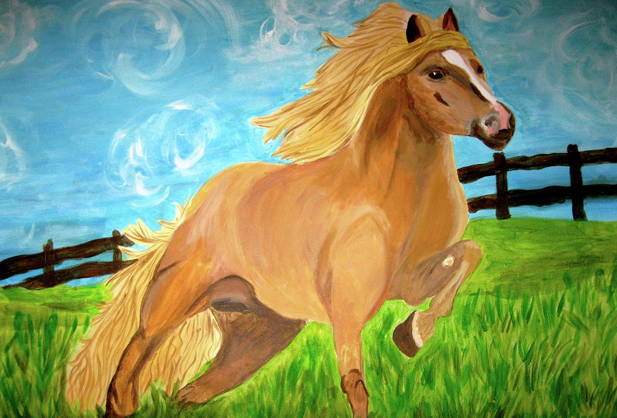 Horse Painting - Field Runner by Rebecca Wood