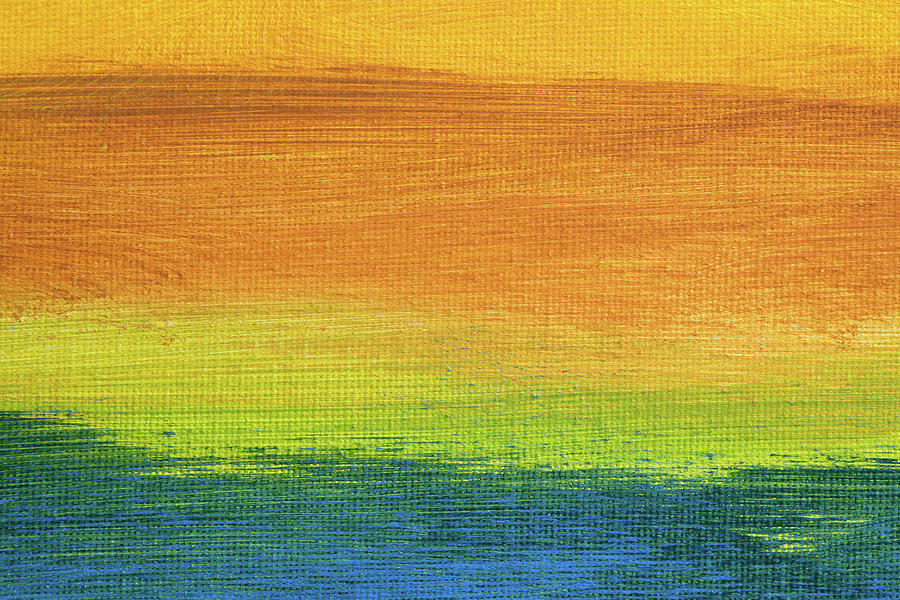 Abstract Painting - Fields Of Gold 1 - Abstract Summer Landscape Painting by Karen Kaspar