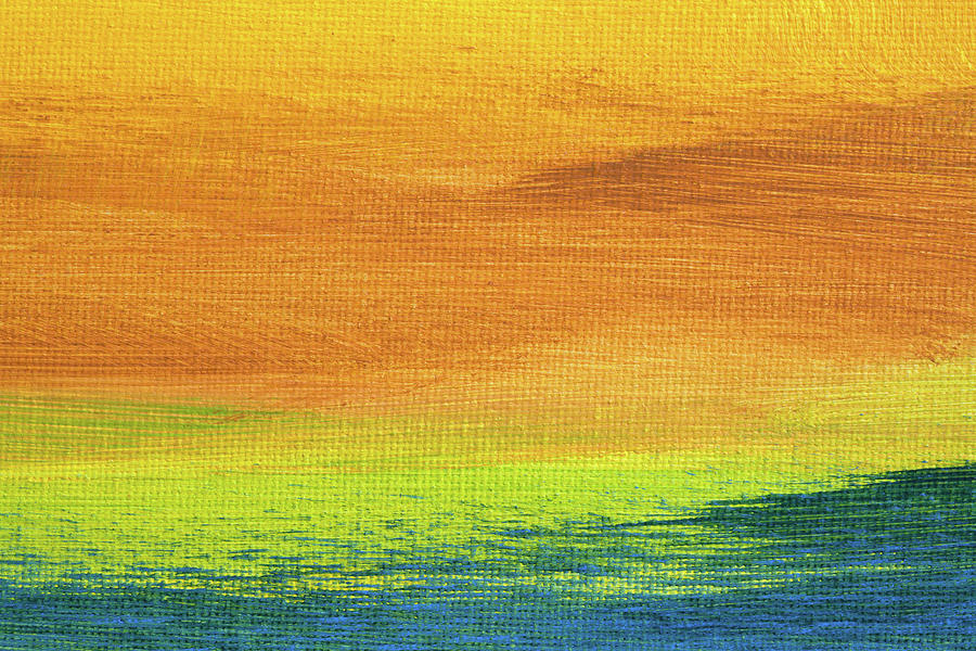 Abstract Painting - Fields Of Gold 2 - Abstract Summer Landscape Painting by Karen Kaspar