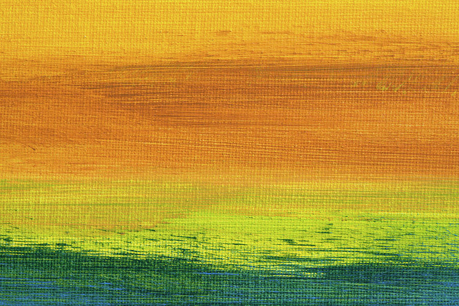 Abstract Painting - Fields Of Gold 3 - Abstract Summer Landscape Painting by Karen Kaspar
