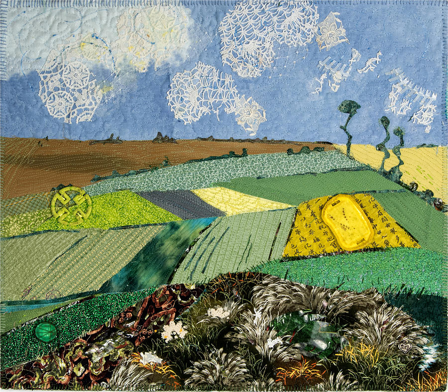 Art Quilt Tapestry - Textile - Fields To Gogh by Martha Ressler