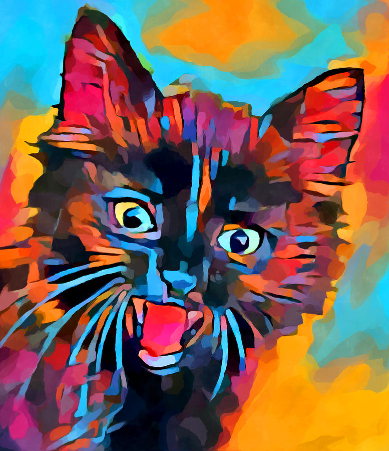 Animal Painting - Fierce Kitty by Chris Butler