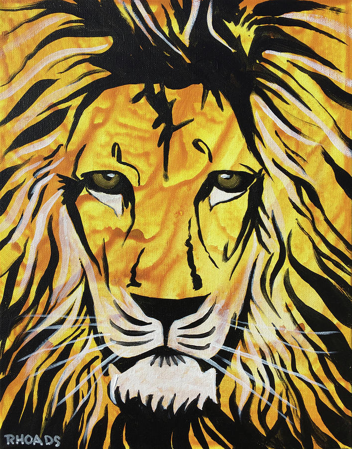 Lion Painting - Fierce Protector 2 by Nathan Rhoads