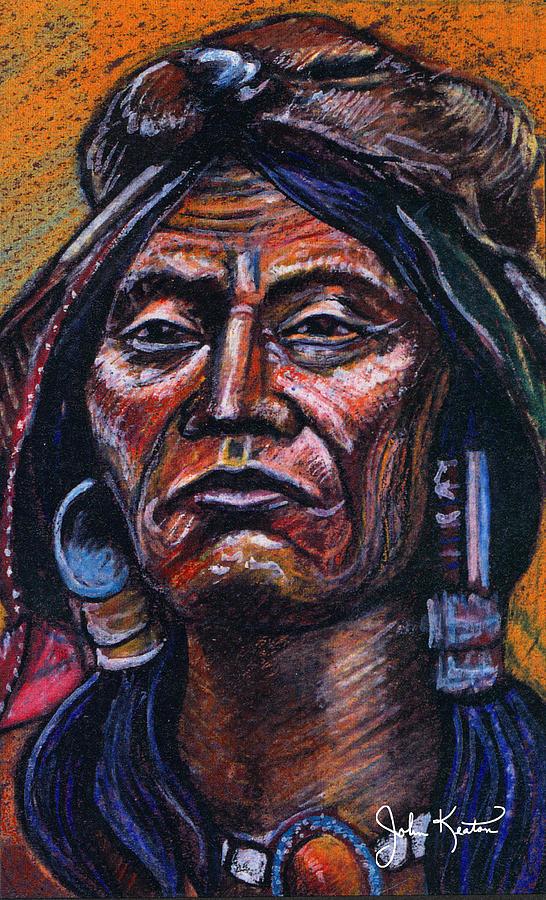 American Indian Painting - Fierce Warrior by John Keaton