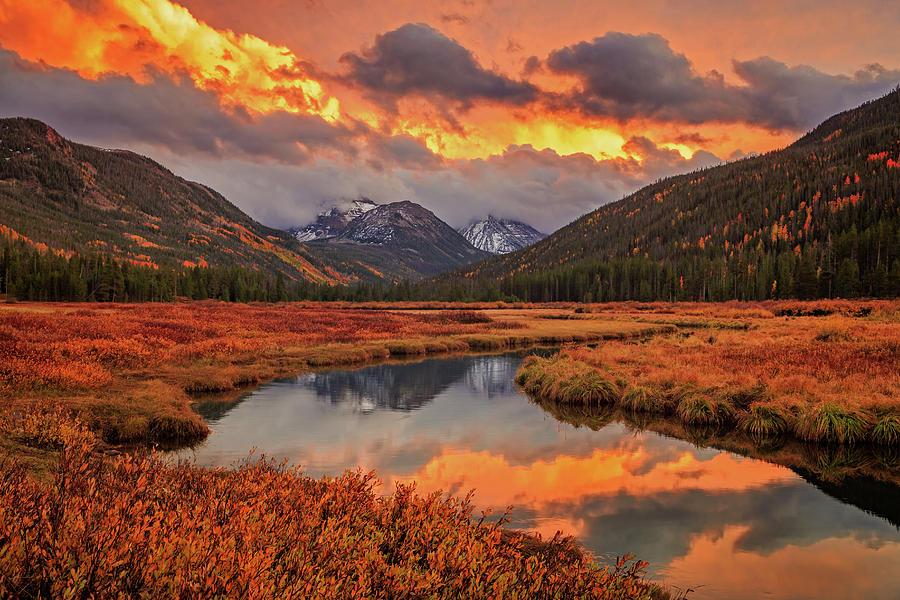 Autumn Photograph - Fiery Bear River Sunset by Johnny Adolphson