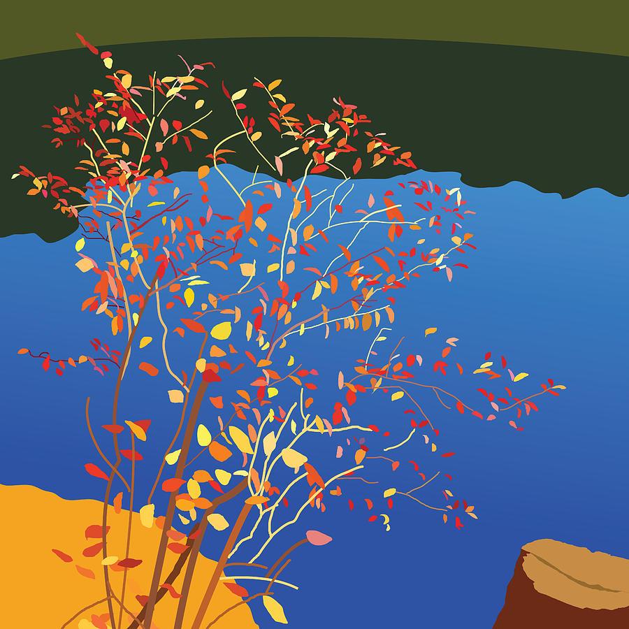 Water Painting - Fiery Bush by Marian Federspiel