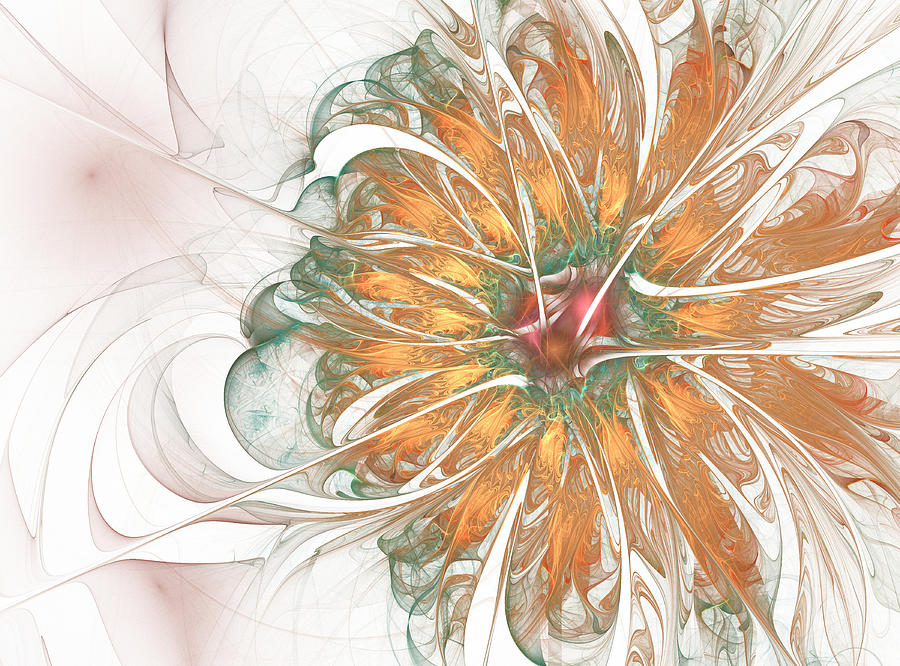 Abstraction Digital Art - Fiery Chrysanthemum by Mary Raven