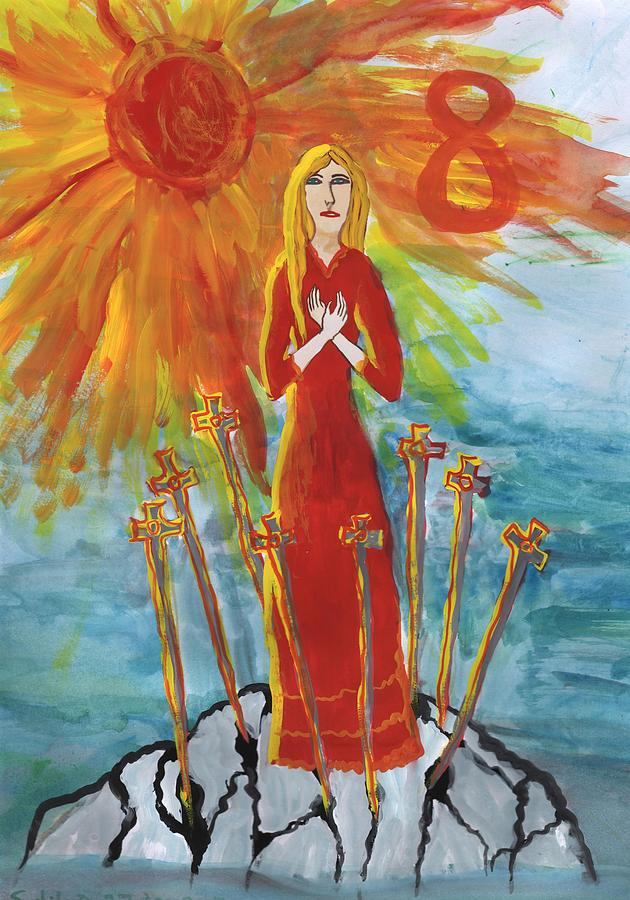 Tarot Painting - Fiery Eight Of Swords Illustrated by Sushila Burgess