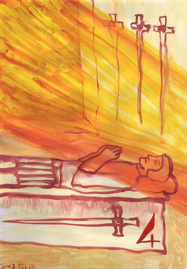Tarot Painting - Fiery Four of Swords Illustrated by Sushila Burgess