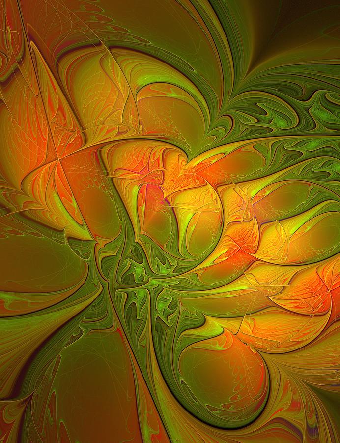 Fractal Digital Art - Fiery Glow by Amanda Moore